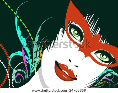 Mysterious party girl - stock vector