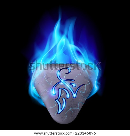 Mysterious triangular stone with magic rune in blue flame