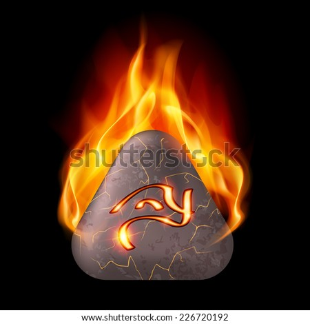 Mysterious trigonal stone with magic rune in orange flame