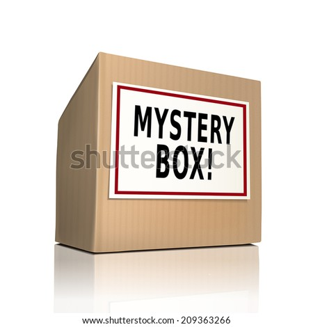 mystery box on a paper box over white background - stock vector