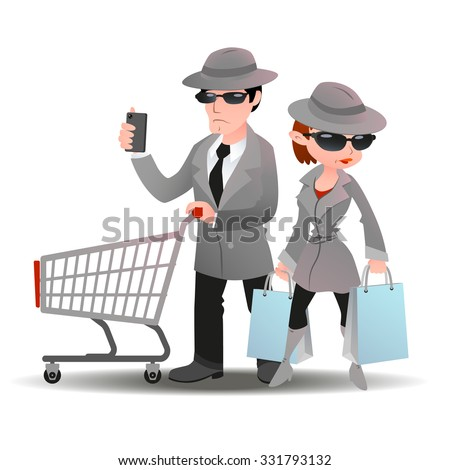 Mystery shopper man with shopping cart and mobile phone and woman with bags in sunglasses, spy coats and hats - stock vector