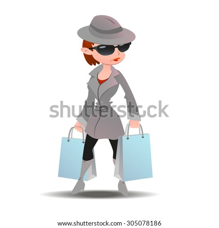 Mystery shopper woman in spy coat, boots, sunglasses and hat with shopping paper bags. Full-length vector. - stock vector