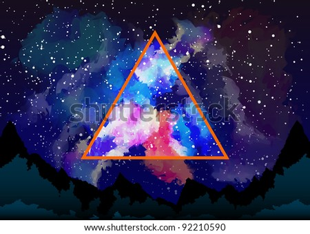 Mystic galaxy view through the astral triangle - stock vector