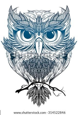 mystic owl - stock vector