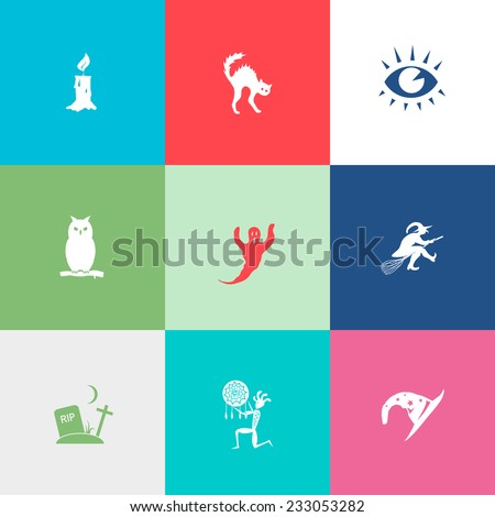 Mystic signs set. Flat color vector icons. - stock vector