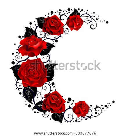Mystical moon painted black stems and red roses on a white background.  Tattoo style.  - stock vector