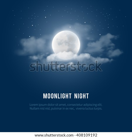 Mystical Night sky background with full moon, clouds and stars. Moonlight night. Vector illustration. - stock vector