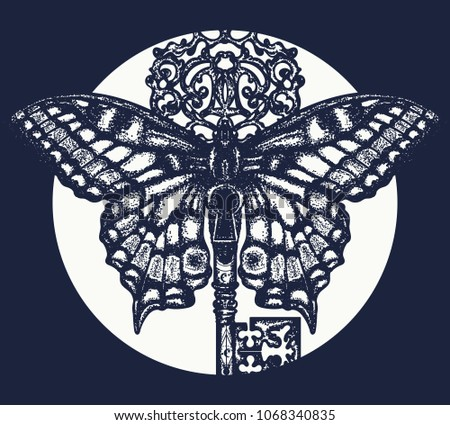 Mystical symbol of freedom, spiritual search, flight, travel. Beautiful butterfly t-shirt design