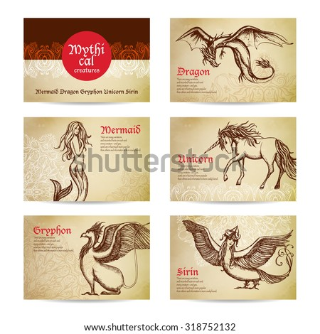 Mythical creatures hand drawn cards set with dragon mermaid and unicorn isolated vector illustration - stock vector