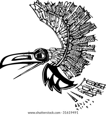 Mythical flying Raven rendered in Northwest Coast Native style.