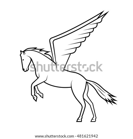 Mythical horse Pegasus on a white background