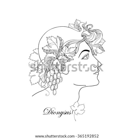 Mythological Dionysus or Bacchus in contour style isolated on white background. God of the grape harvest, winemaking and wine in Greek mythology. Series of mythological creatures. - stock vector
