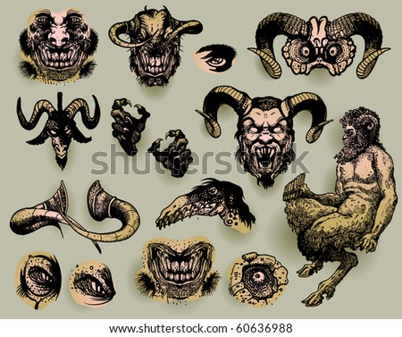 Mythological monsters - stock vector