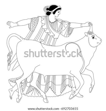Mythological Scene Old Greek Vase Painting Stock Vector Royalty