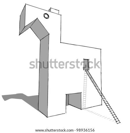 mythological trojan horse - stock vector