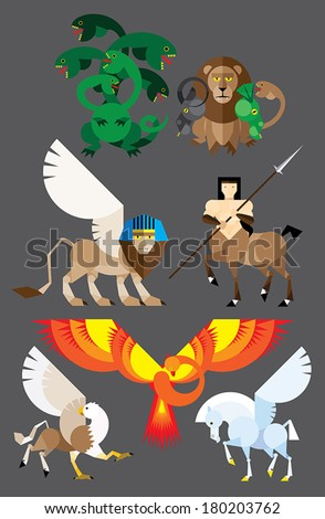 Mythology set in flat style - centaur, hydra, pegasus, phoenix, sphinx, hippogriffin, chimera - stock vector