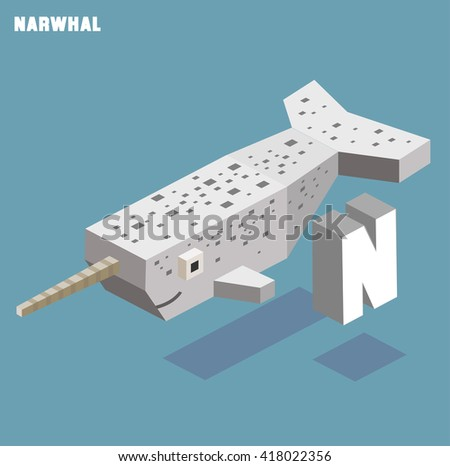 N for Narwhal. Animal Alphabet collection. vector illustration - stock vector