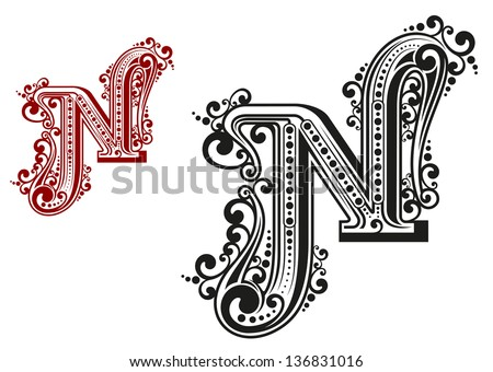 N letter in vintage calligraphic style isolated on white background. Jpeg (bitmap) version also available in gallery - stock vector