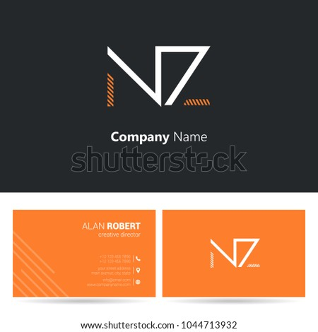 N z joint logo stroke letter stock vector hd royalty free n z joint logo stroke letter design with business card template reheart Images