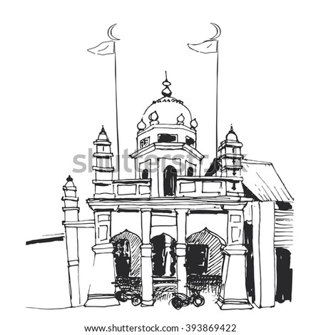 Nagore Durgha Sheriff Shrine, Little India, George town, Malaysia. For travel tour promotion, card, invitation, wed, Ramadan or Eid Mubarak greeting, banner, poster, flyer, template, booklet, leaflet. - stock vector