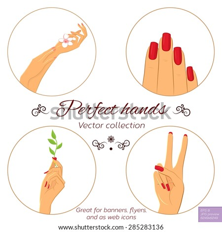 Nail and hand care illustration set. Elegant female hands with different nail polish. Manicure icon set. Vector illustration. - stock vector