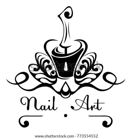 Nail Art Abstract Vector Logo Bottle Stock Vector Royalty Free