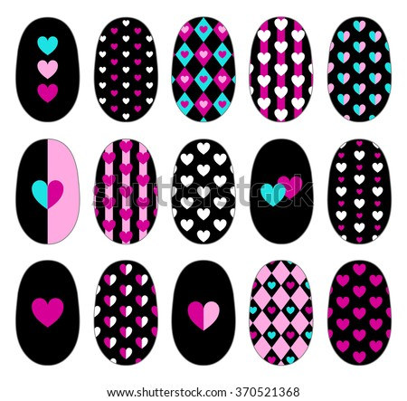 Nail art heart design templates manicure stock vector 370521368 nail art heart design templates manicure design set can be used for false nail prinsesfo Images