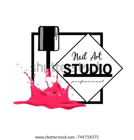 Nail Art Studio Logo Design Template Stock Vector Royalty Free