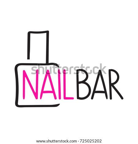 Nail Bar Vector Hand Drawn Logo Stock Vector 725025202 Shutterstock