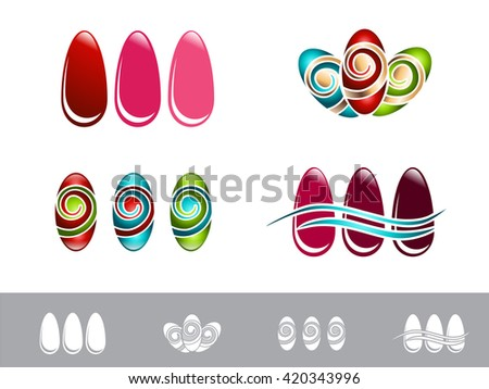 Nail Design Set Over White Background - stock vector
