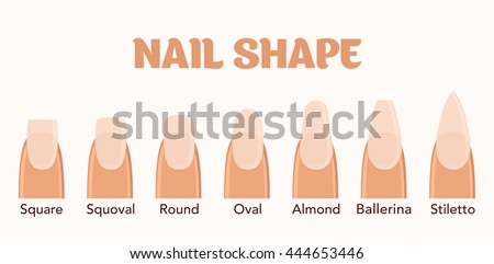 Nail forms. Female manicure. Set kinds of nails. Fashion nail shape. Icons nail shape. Collection of kinds of nails. Fashion trends. Vector illustration. - stock vector