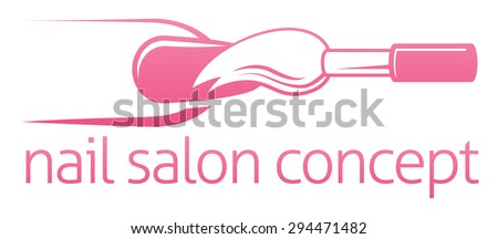 Nail manicurist technician, nail bar or salon concept of a nail being painted with a brush - stock vector