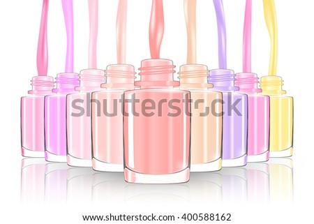 Nail polish bottle. nail bottle splash. pastel. 3d illustration vector - stock vector