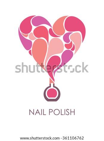 Nail polish heart symbol. - stock vector