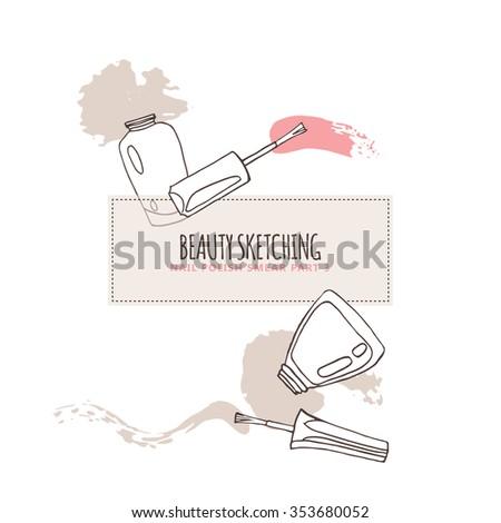 Nail Polish, Nail Lacquer, Fingernail Polish, Nail Enamel Set. Make Up, Cosmetics. Hand drawn vector illustration. Line art ink sketch.  - stock vector