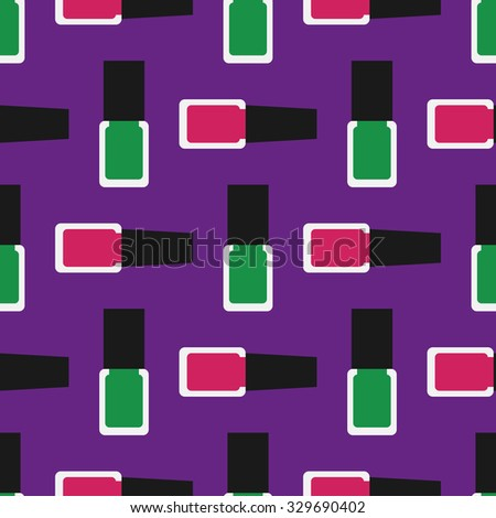 Nail polish seamless pattern 3. Green and crimson nail polishes or nail lacquers on a purple background.