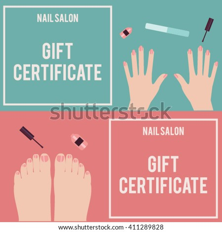 Nail salon gift certificate gift certificate stock vector for Free pedicure gift certificate template