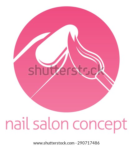 Nail technician, nail bar or salon manicurist concept of a nail being painted with a brush - stock vector