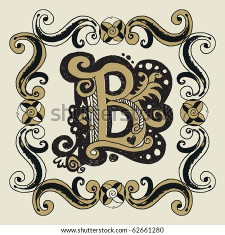 naive baroque alphabet, hand drawn letter B - stock vector