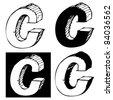 naive 3D alphabet, childlike hand drawn C - stock vector