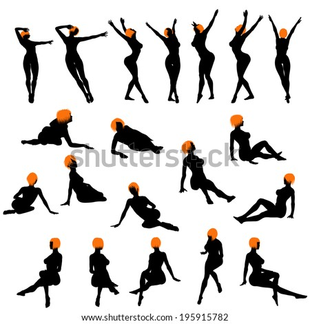 Naked sexy girls silhouette set. Very smooth and detailed with color hairstyle. Vector illustration.     - stock vector