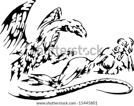 naked woman lying near dragon. line-out illustration