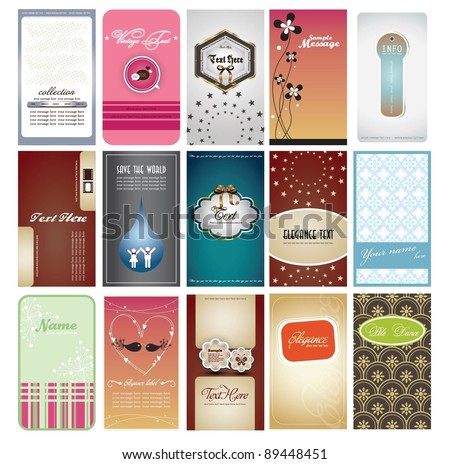 name card collection - stock vector