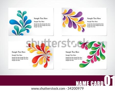 Name card template set 01 - stock vector