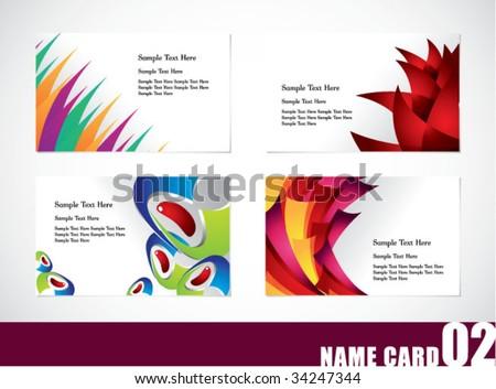 Name card template set 02 - stock vector