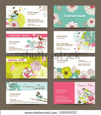 name card templates with floral theme - stock vector