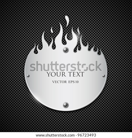 Nameplate fire flames style material stainless steel background - stock vector