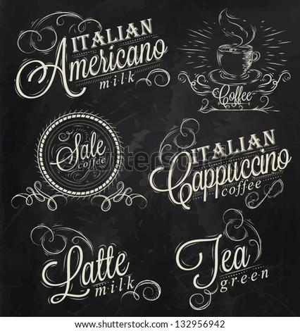 Names of coffee drinks espresso, latte, stylized inscriptions in chalk on a blackboard dark. - stock vector