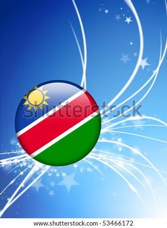 Namibia Flag Button on Abstract Light Background Original Illustration