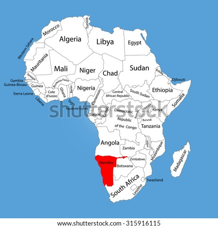 Namibia Vector Map Silhouette Isolated On Stock Vector 315916115